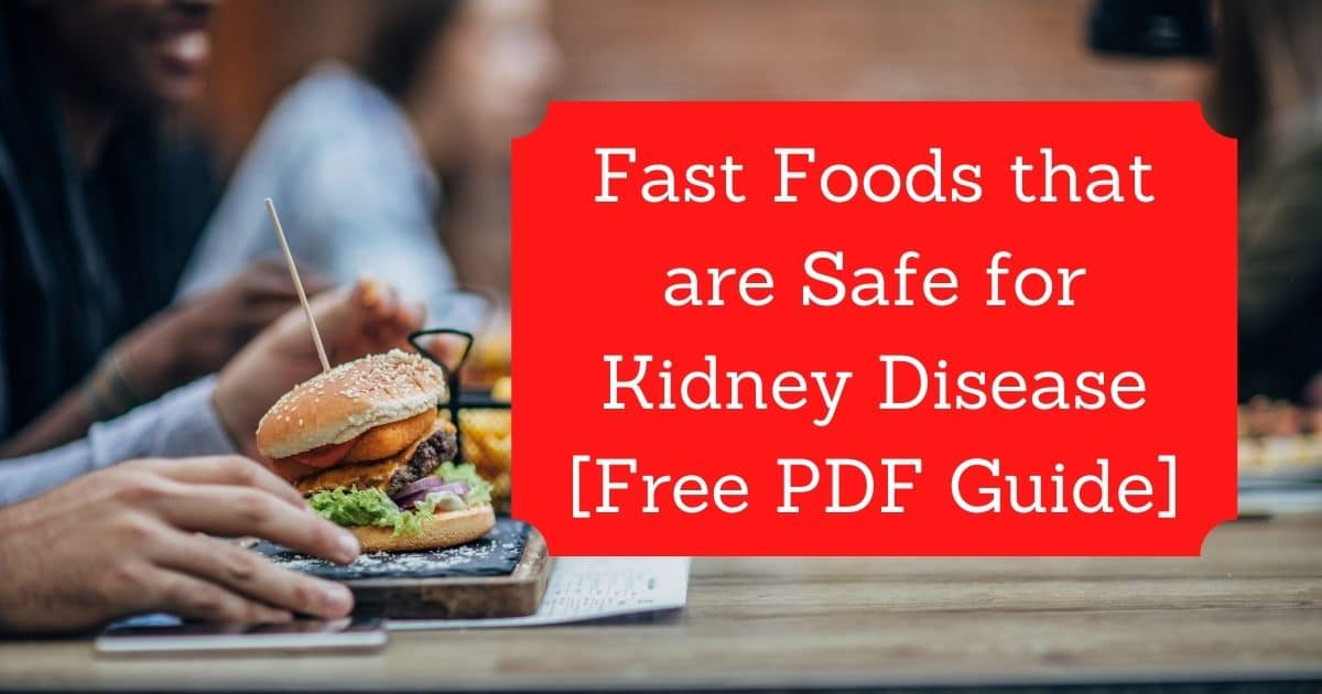Man and woman sitting behind fresh burger and pizza before eating. Red square background with title Fast Foods that are Safe for Kidney Disease [Free PDF Guide]
