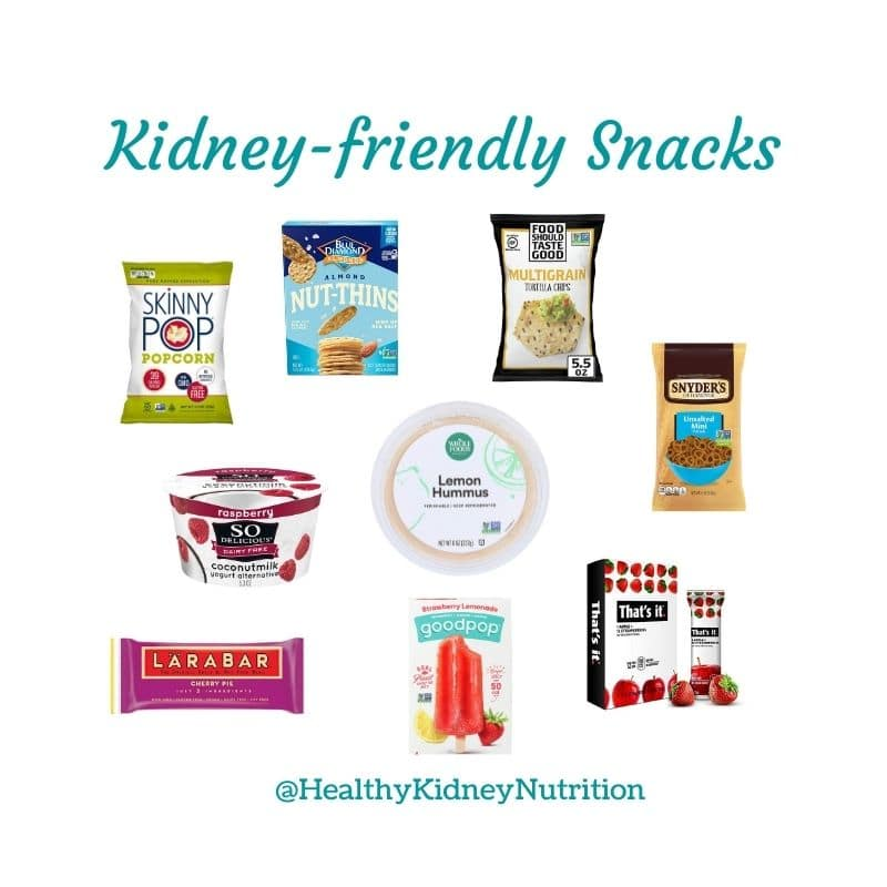 Graphic of Kidney-friendly snacks listed in blog article